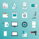 Set flat design icons of home appliances Royalty Free Stock Photos