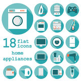 Set flat design icons of home appliances with long royalty free stock image