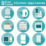Set flat design icons of kitchen appliances with Stock Image