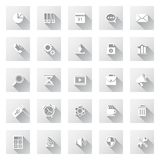 Set of flat design icons with long shadows. Royalty Free Stock Photos