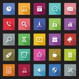 Set of flat design icons with long shadows. Stock Image
