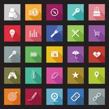 Set of flat design icons with long shadows. Royalty Free Stock Images