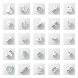 Set of flat design icons with long shadows. Stock Photos