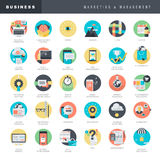 Set of flat design icons for marketing and management Stock Image