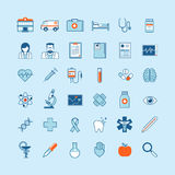 Set of flat design icons on medicine theme Stock Images
