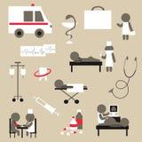 Set of flat design icons on medicine theme Royalty Free Stock Photos