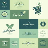 Set of flat design icons for natural organic products Royalty Free Stock Image