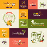 Set of flat design icons for organic food and drink Royalty Free Stock Image