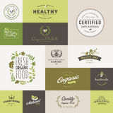 Set of flat design icons for organic food and drink Stock Photo