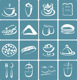 Set of flat design icons for restaurant, food and Stock Photos