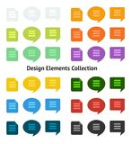 Set of flat design icons and speech bubbles Royalty Free Stock Photo