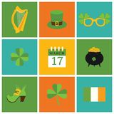 A set of flat design icons for St. Patrick's Day Stock Photo