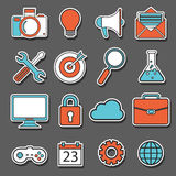 Set of flat design icons, stickers for Business, SEO and Social media marketing Royalty Free Stock Photos