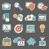 Set of flat design icons, stickers for Business, SEO and Social media marketing Royalty Free Stock Photo