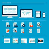 Set of flat design icons for web and mobile phone  Stock Images