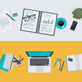 Set of flat design illustration concepts for business and finance Royalty Free Stock Images