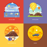 Set of flat design illustration concepts for cruise liner, air balloon, mountaineering, African safari. Royalty Free Stock Photo