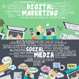 Set of flat design illustration concepts for digital marketing and social media Stock Photo