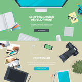 Set of flat design illustration concepts for graphic design development and portfolio Royalty Free Stock Photo