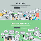 Set of flat design illustration concepts for hosting and SEO Royalty Free Stock Photo
