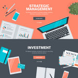 Set of flat design illustration concepts for strategic management and investment Stock Image