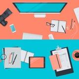 Set of flat design illustration concepts for workspace vector illustration