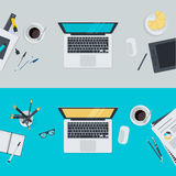 Set of flat design illustration concepts for workspace Royalty Free Stock Photos