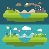 Set flat design illustrations with icons of environment, green energy Stock Photos