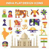 Set of flat design India travel icons  Stock Images