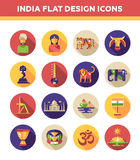 Set of flat design India travel icons and Stock Images