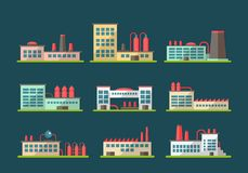Set of flat design industrial buildings pictograms Royalty Free Stock Photography