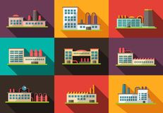 Set of flat design industrial buildings pictograms Royalty Free Stock Photo