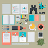 Set of flat design items for business, finance, marketing. The set can be used for website design, print templates, presentation templates, promotional Royalty Free Stock Photo