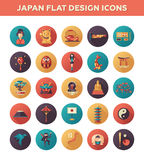 Set of flat design Japan travel icons and Stock Photography