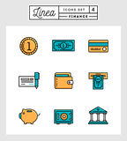 Set of flat design line icons of finance elements Royalty Free Stock Photo