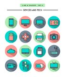 Set of flat design,long shadow, thin line devices and tech icons Royalty Free Stock Image