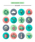 Set of flat design,long shadow, thin line ecology icons Royalty Free Stock Photo