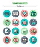Set of flat design,long shadow, thin line education icons Royalty Free Stock Photography