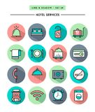 Set of flat design,long shadow, thin line hotel services icons Stock Images