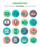 Set of flat design,long shadow, thin line multimedia icons Stock Image