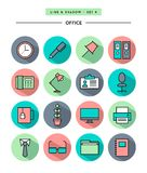 Set of flat design,long shadow, thin line office icons. Vector illustration Stock Photo