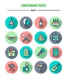 Set of flat design,long shadow, thin line party icons Stock Image