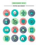Set of flat design,long shadow, thin line power and energy icons. Vector illustration Stock Images