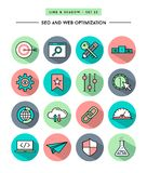 Set of flat design,long shadow, thin line seo and web Royalty Free Stock Images