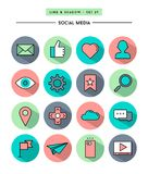 Set of flat design,long shadow, thin line social media icons Royalty Free Stock Image