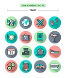 Set of flat design,long shadow, thin line travel icons Stock Image