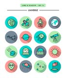 Set of flat design,long shadow, thin line universe icons Royalty Free Stock Photography