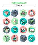 Set of flat design,long shadow, thin line wedding icons Royalty Free Stock Photography