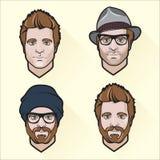 Set of flat design men's portraits. Royalty Free Stock Photos