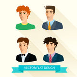 Set of flat design men's portraits. Stock Photo